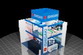 pc generiertes Schema des Ishigashi Modells mit zwei Stockwerken inklusive der Logos und Mobiliar. Im Erdgeschoß steht ein Herr und im Obergeschoß sitzen ein Mann und eine Frau die eine Unterhaltung führen aus einer schrägen Vogelperspektive